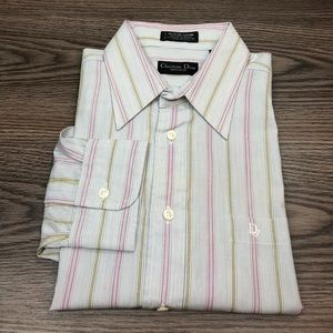 Christian Dior White, Gold & Pink Stripe Shirt 16
